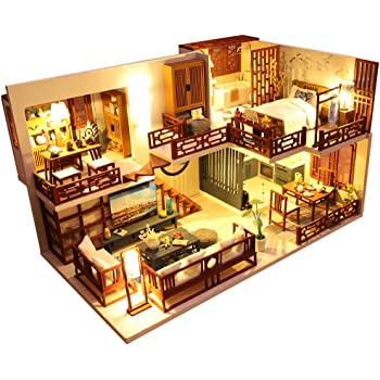 CUTEBEE Dollhouse Miniature with Furniture, DIY Wooden Dollhouse Kit Plus Dust Proof and Music Movement, 1:24 Scale Creative Room Idea(Quiet Time)