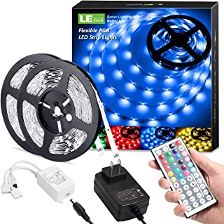 LE LED Strip Lights, 32.8ft RGB 5050 LED Strips with Remote Controller, Color Changing Tape Light with 12V Power Supply for Room, Bedroom, TV, Kitchen, Desk