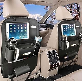 OTCPP Car Backseat Organizer PU Leather Car Seat Back Organizer for Travel with Baby Storage Bags iPad Holder (1 Pack, Black)