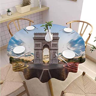 DILITECK European Food Round Tablecloth Paris Famous Champs Elysees Avenue Historical Monument French Culture Panorama Table Decoration Diameter 63