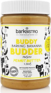 Bark Bistro Company, Barkin' Banana Buddy Budder, 100% Natural Dog Peanut Butter, Healthy Peanut Butter Dog Treats, Stuff in Toy, Pill Pocket for Dogs, Made in USA (16oz Jars)