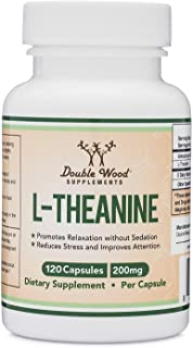L-Theanine 200mg by Double Wood Supplements — Naturally Reduce Stress, Promote Relaxation and Quality Sleep — Soy Free, Gl...