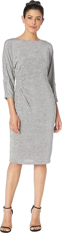 Adrianna Papell Womens Armored Jersey Dress Bateau Neckline w  3 4 Length Dolman Sleeves