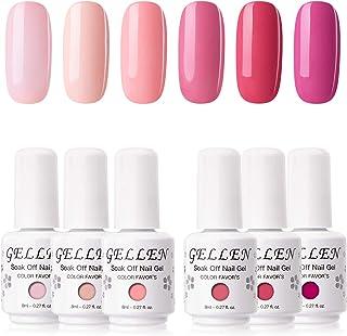 Gellen Gel Nail Polish Kit - 6 Colors Tulip Pinks Series Rose Peach Magenta Tone, Classic Bright Pinks Red Nail Gel Shades...