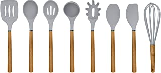 Country Kitchen Silicone Cooking Utensils, 8 Pc Kitchen Utensil Set, Easy to Clean Wooden Kitchen Utensils, Cooking Utensils for Nonstick Cookware, Kitchen Gadgets and Spatula Set - Grey