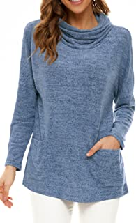 Womens Long Sleeve Cowl Neck Casual Pullovershirts Tunic Tops Blouse with Pockets