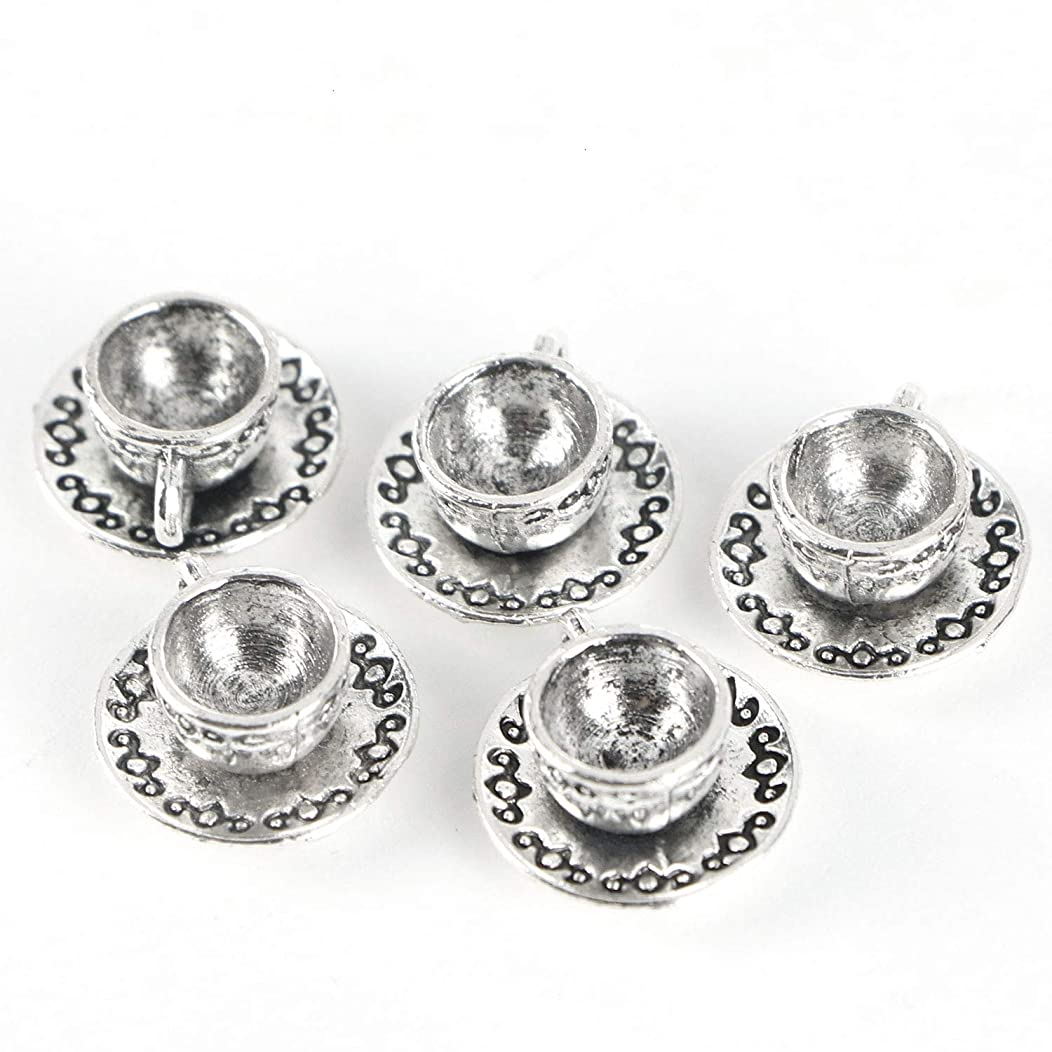Monrocco 40pcs Coffee Tea Cup Charms 7x14mm Antique Making Vintage Tibetan Silver Zinc Alloy Pendant