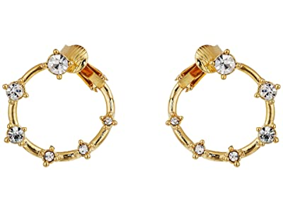 Vince Camuto Wraparound Stone Clip Hoop Earrings (Gold/Crystal) Earring