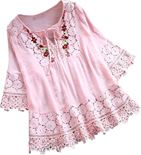 Casual Blouses for Women,ONLY TOP Women's Embroidered Blouse Tunic V-Neck Linen Tops Short Sleeve Hi-Low Hem Shirt