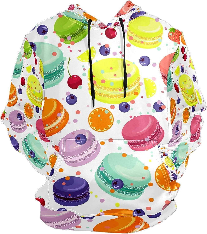 Colorful Macaroons Sweet Barrier Mens Sport Hoodie Big and Tall Hoodies for Men Women Oversized Hooded Sweatshirt Hip Hop Pullover Hoodie Midweight Hood for Boys Girls