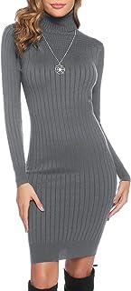 Abollria Vestito Donna Invernali Manica Lunga Vestito Maglione Lungo Aderente con Collo Alto Abito a Maglia per Inverno