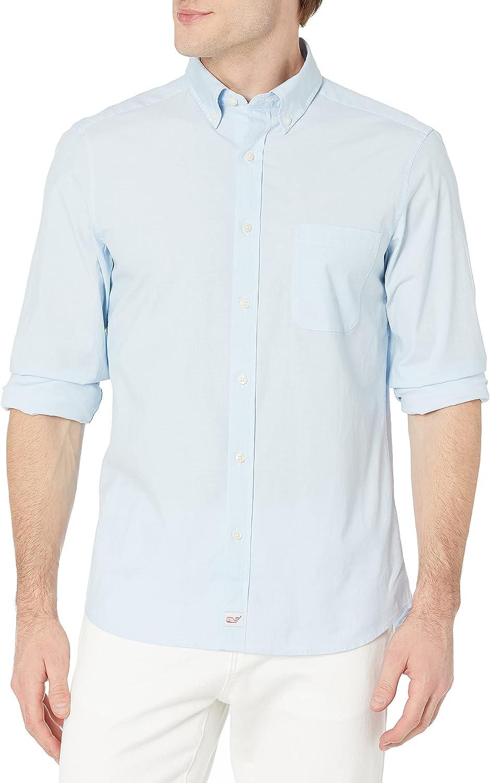 vineyard vines Men's Classic Fit Solid Shirt in Stretch Cotton, Jake Blue, Medium