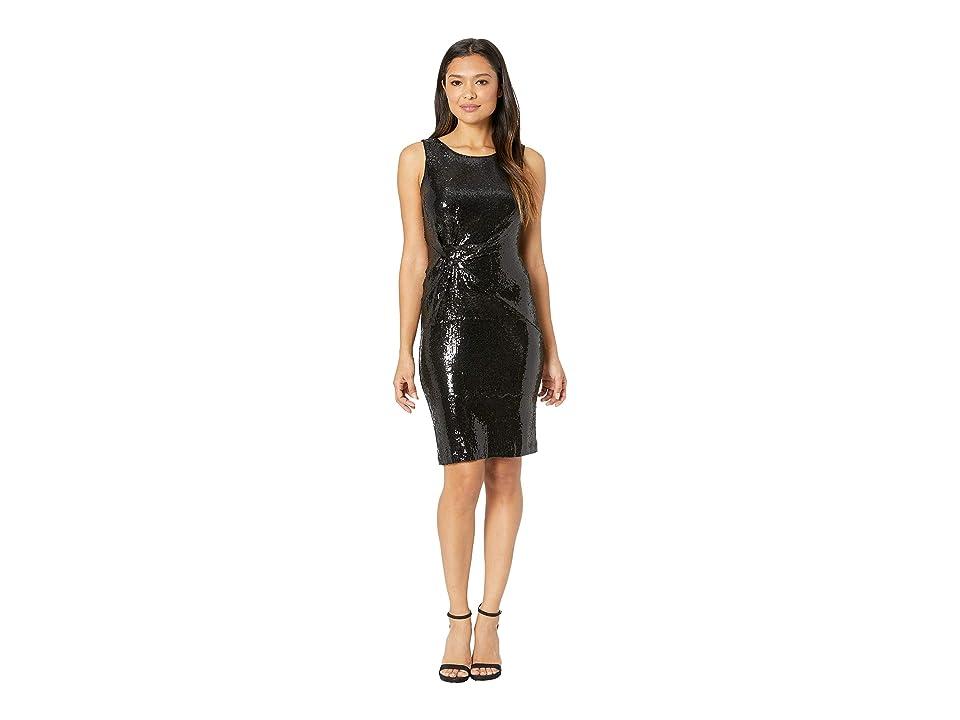 Taylor Sleeveless Sequin Knit Sheath Dress (Black) Women