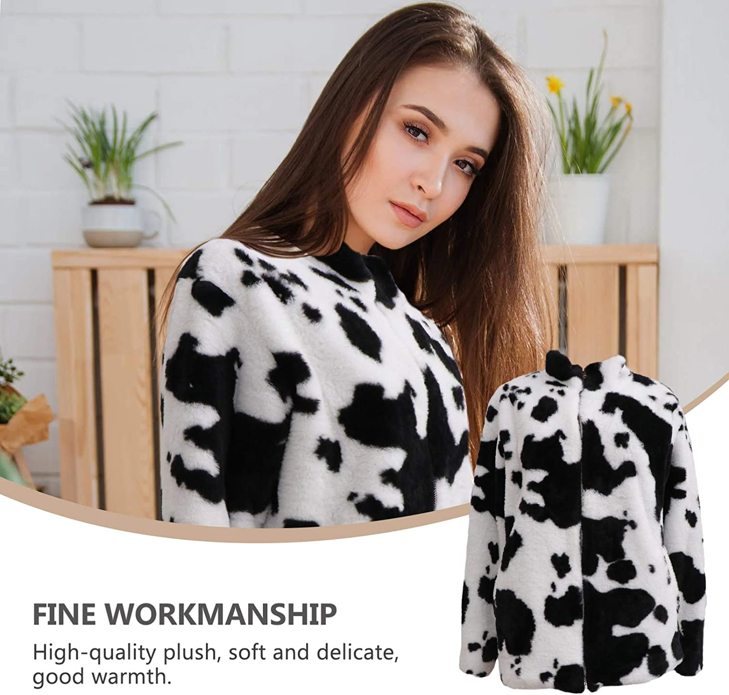 VALICLUD Womens Faux Fur Coat Zip Up Cow Print Jacket Fluffy Shearling Coat Long Sleeve Black, White