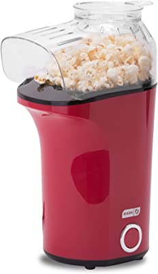 DASH Popcorn Machine: Hot Air Popcorn Popper + Popcorn Maker with Measuring Cup to Measure Popcorn Kernels + Melt Butter - Red
