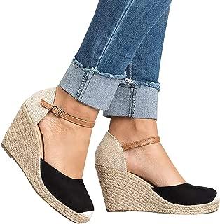 Womens Summer Espadrille Heel Platform Wedge Sandals Ankle Buckle Strap Closed Toe Shoes…