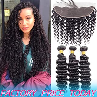 Best Deep Wave Human Hair Weave 3 Bundles 8A Peruvian Virgin Hair Weft With 13x4 Frontal Pre Plucked With Baby Hair Cheap Brazilian Indian Wavy 4x13 Ear to Ear Swiss Lace Closure 10 12 14 And 10 Inch