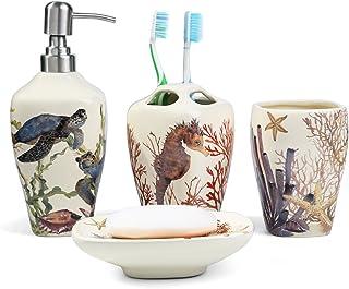 dispenser set da bagno azzurro organizer da bagno ALLPER Set di accessori da bagno tubo portaspazzolino. include portasapone