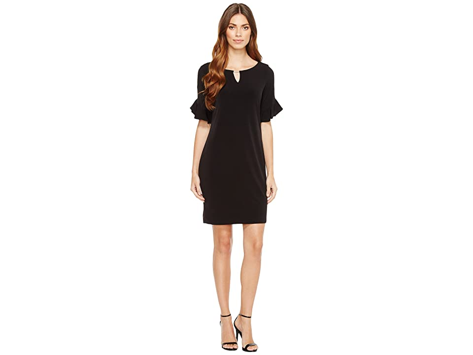 Calvin Klein Ruffle Sleeve Dress with Hardware (Black) Women