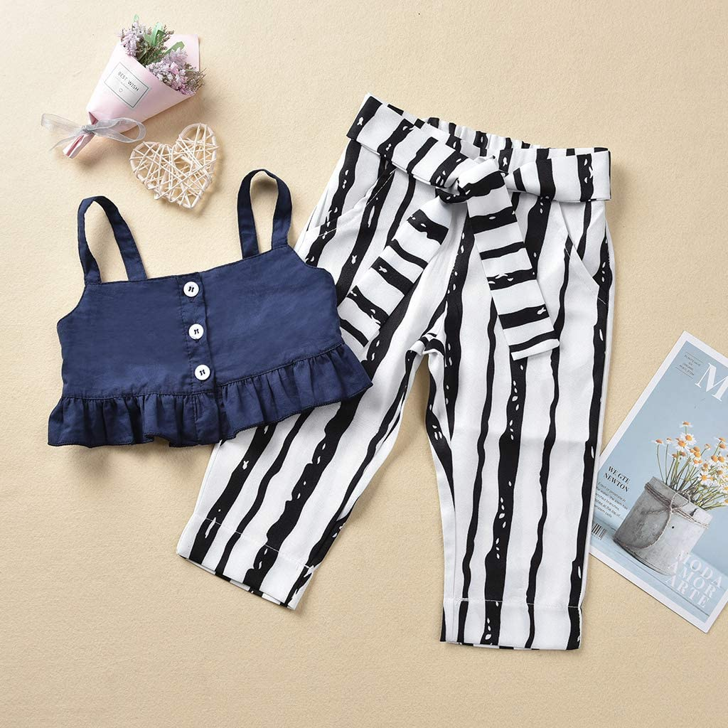 Toddler Baby Girl Summer Outfit 2 Piece Ruffle Sleeveless Cami Tank Top and Striped Pants Clothes Set