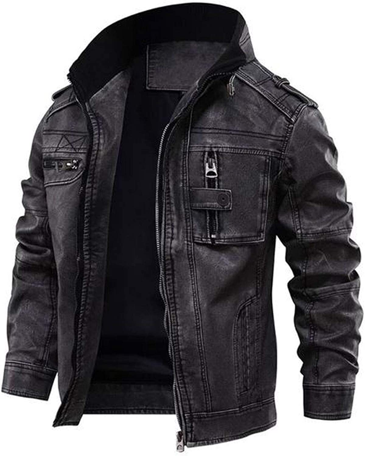 Men's Motorcycle Brando Style Biker Real Leather Jacket - Distressed Leather Cafe Racer Jackets