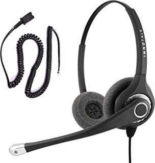 InnoTalk Headset for Cisco 7942, 7945, 7960, 7961 - Superb Sound Professional Binaural Headset + Cisco Phone Headset Quick Disconnect Adapter Compatible with Plantronics QD as Office Headset
