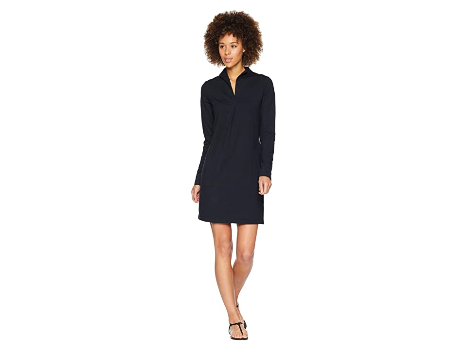 NAU Long Sleeve Elementerry Mock V Dress (Caviar) Women