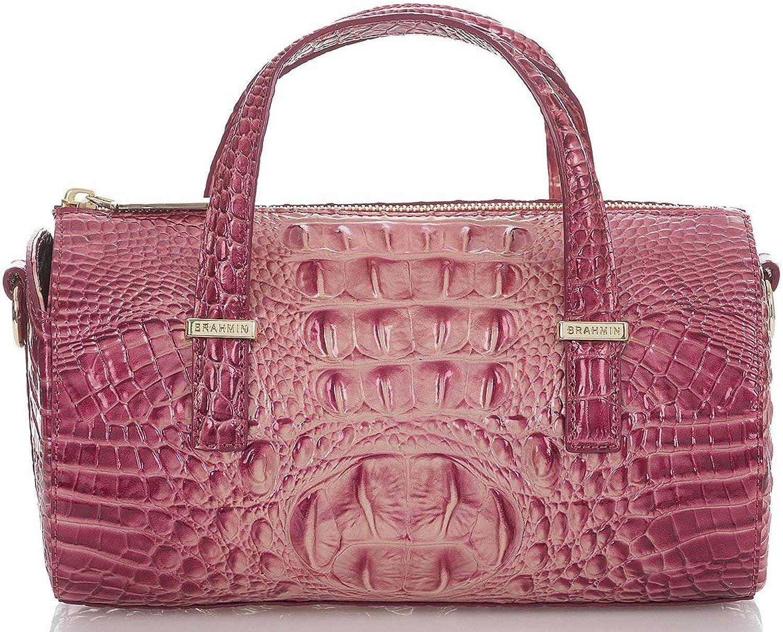 Brahmin Claire Melbourne Embossed Leather Barrel Bag, Lotus