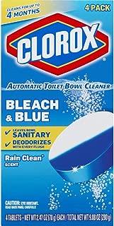 Clorox Automatic Toilet Bowl Cleaner Tablets, Bleach & Blue - Rain Clean - 4 Count