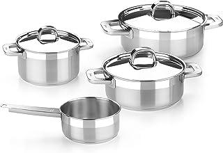 Bra Advance - Batería de cocina 4 piezas de acero inoxidable, apta para todo tipo de cocinas incluída inducción