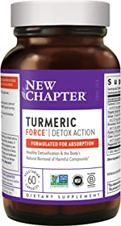 New Chapter Turmeric Supplement + Daily Detox - Turmeric Force Detox Action with Green Tea + Ginger + NO Black Pepper Need...