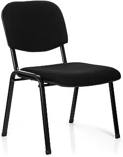 hjh OFFICE 704400 silla confidente XT 600 XL tejido negro, acero muy estable, asiento especialmente ancho, apilable, capacidad hasta 150 kg, silla conferencia, cómodo, acolchado