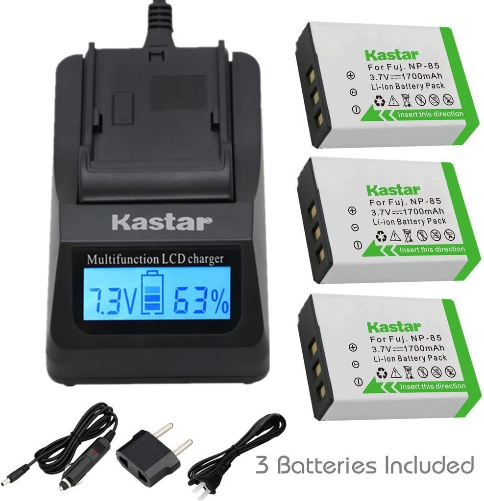 Kastar Fast Charger + Battery for Cheap mail order supreme specialty store BC-85 3-Pack NP-85 Fujifilm
