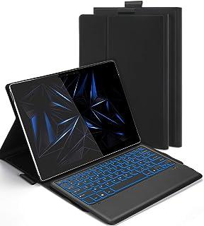 Jelly Comb Etui Clavier Rétroéclairé Bluetooth pour Microsoft Surface Pro 4/5/6/7, Housse Coque de Protection avec Clavier...