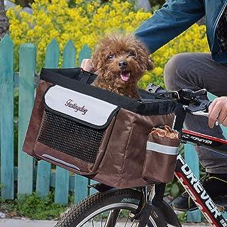 Hillwest Pet Bike Basket Bag Bicycle Front Carrier Pet Dog Bicycle Carrier Bag Basket Puppy Dog Cat Travel Bike Carrier Se...