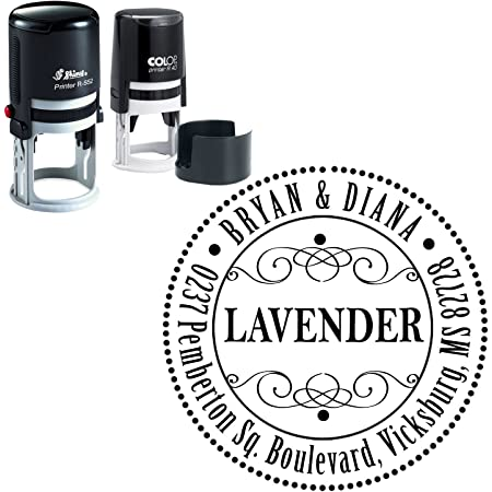 Business Address Custom Self Inking Round Rubber Stamp Personalized Stamper Desk Accessory