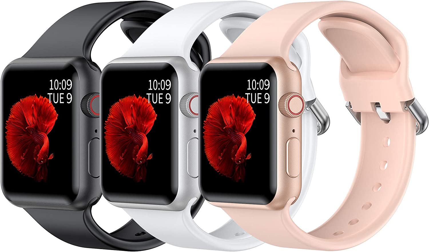Girovo Sport Band Compatible with Apple Watch Band 38mm 40mm 42mm 44mm for Women Men,Soft Silicone Strap with D-Type Clasp for iWatch SeriesSE 6 5 4 3 2 1 (Black+White+Pink Sand, 38mm/40mm M/L)