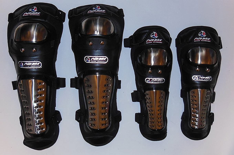 普及主要な変わる強力ステンレス鋼 安心?安全 プロテクター バイク オートバイ 用 ニー パッド & エルボー のセット 肘ガード 膝スネガード