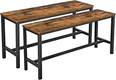 VASAGLE Dining Bench, Table Bench Set,Pair of 2, Industrial Style Indoor Benches, 42.5 x 12.8 x 19.7 Inches, Durable Metal Fr
