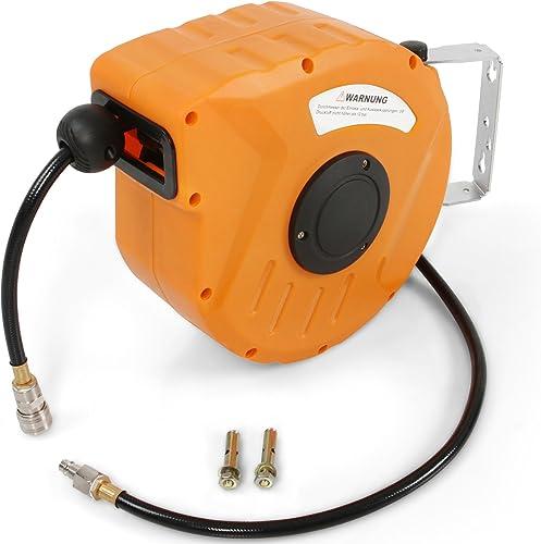 TIMBERTECH® Druckluftschlauchtrommel - automatik Aufroller, 10m/20m/30m lang, 8/18 bar, 1/4 Zoll Anschluss inkl. Meta...