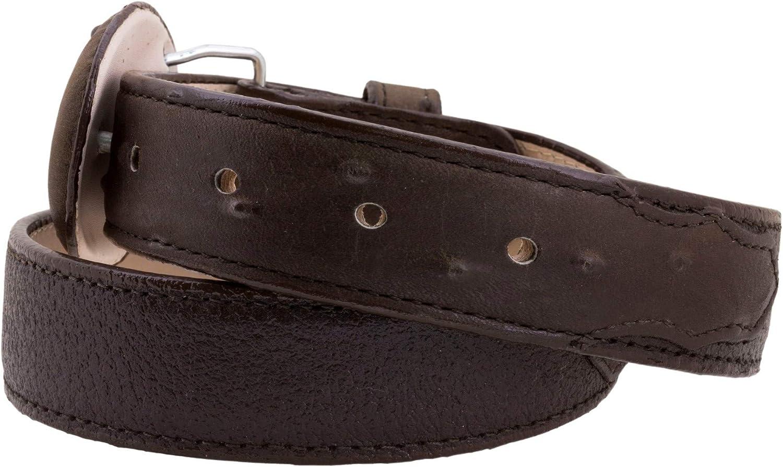 El Presidente - Kid's Toddler Brown Ostrich Print Overlay Leather Belt Round Buckle 22