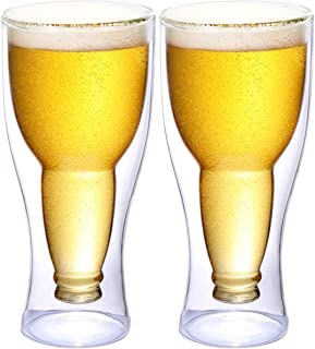 Eternal Moment Beer Glasses,12 Ounce Insulating Double Walled Glass for Pub, Dinner Parties, Bars, Restaurants, Hotels, Beer Lovers Gifts-2 Pack