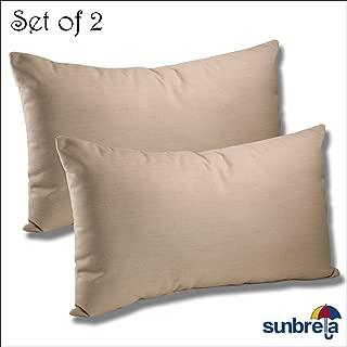 Comfort Classics Inc. Set of 2-22x12x4 Sunbrella Indoor/Outdoor Fabrics Lumbar Pillows in Spectrum Sand