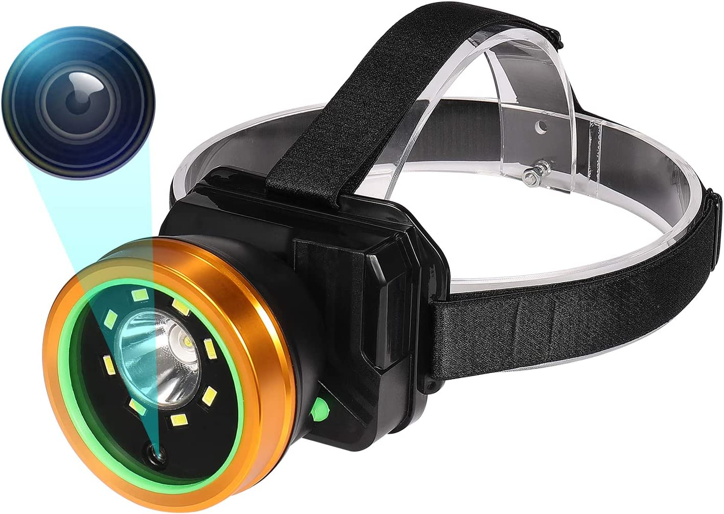 Headlamp Body Camera Built-in 32GB Memory Card with Audio, 1080P Wearable Body Mounted Camera Rechargeable IPX4 Waterproof Night Visionfor, Camping, Hiking, Fishing. (Gold-0GB)