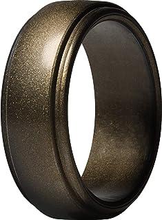 خاتم من السيليكون للرجال من ثاندرفيت، شريط مطاطي للزفاف بحافة دائرية، بعرض 10 ملم، سمك 2.5 ملم