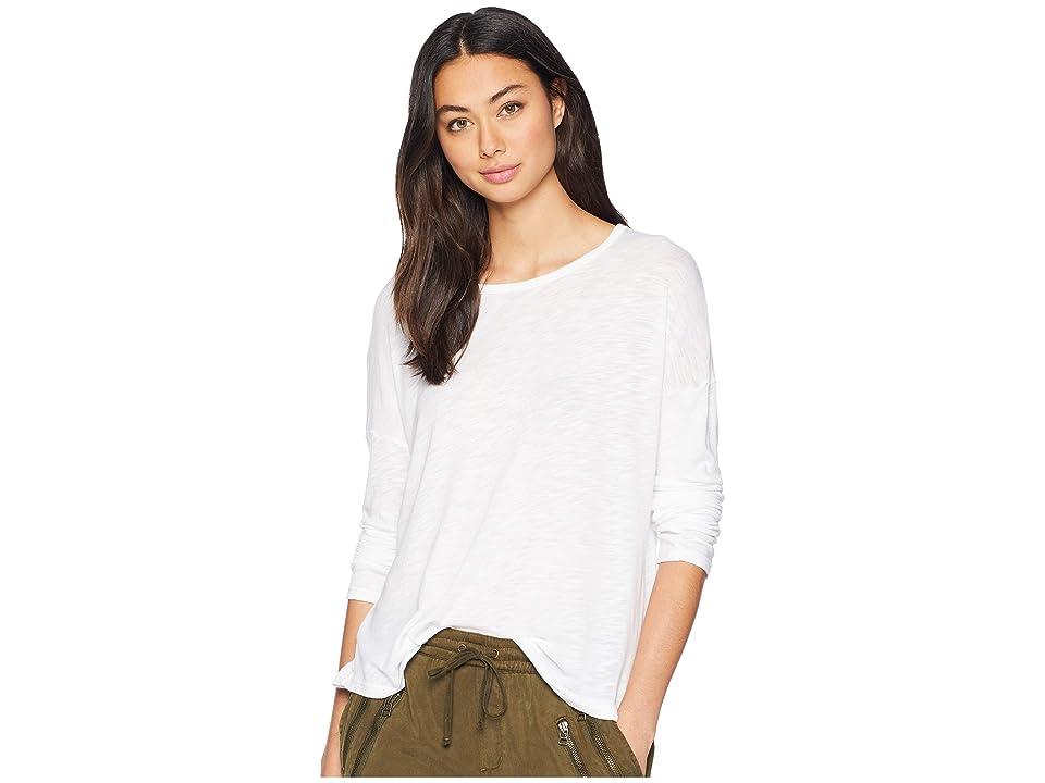 Splendid Long Sleeve Slub Drop Shoulder Tee (White) Women