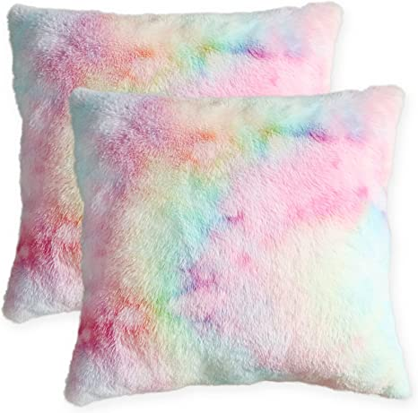 Amazon Com Muchique Pack Of 2 Fuzzy Tie Dye Throw Pillow Covers Plush Faux Fur Decorative Shaggy Pink Pillow Shams Cases For Sofa Bedroom Living Room Square 16 X 16 Inches Home Kitchen