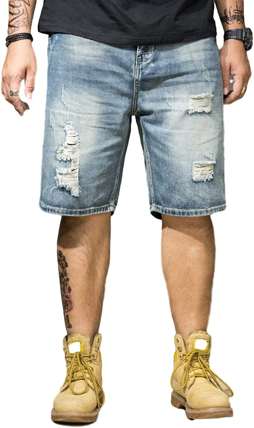 trend rank Men's Vintage Style Large Size Sales results No. 1 Jeans Loose Fit Straight Leg Dist