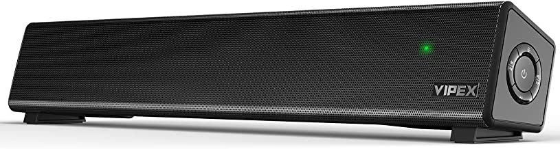 Desktop Computer Speakers - Bluetooth PC Speakers Sound Bar, 10W Powerful Stereo Small Soundbar Speaker for TV, PC, Smartphone, Tablet and Laptop, Wireless and AUX-in Connection, Wall Mountable
