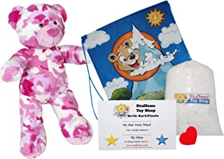 """Make Your Own Stuffed Animal Cammie The Pink Camo Bear 16""""- No Sew - Kit with Cute Backpack!"""